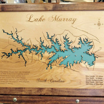 Wood Laser Cut Map of Lake Murry South Carolina Topographical Engraved Map