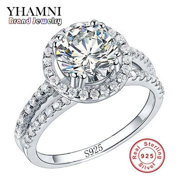 Big Sale Fashion Jewelry Ring Have S925 Stamp Real 925 Sterling Silver Ring Set 2 Carat CZ Diamant Wedding Rings for Women R510