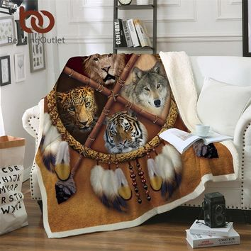 BeddingOutlet Wolf Dreamcatcher Blanket Native American Plush Throw Blanket D Animal Tribal Lion Tiger Leopard Bears Thin Quilt