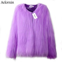 2017 Faux Fur Coat Winter Women Fluffy Thick Warm Purple Fur Coat Long Sleeve Faux Fur Coats Hairy Overcoat Black Jacket
