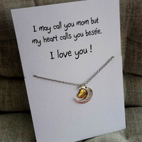 I Love you Mom to the Moon and Back Heart and Moon Pendants Gift holidays Woman Necklace