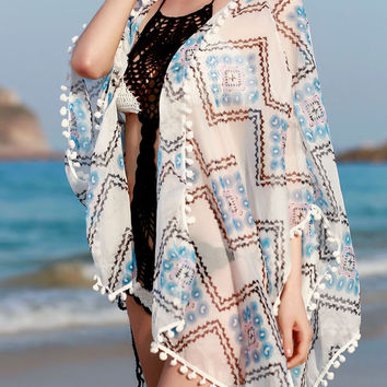 White Zigzag Printed Cover-Up with Tassels