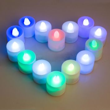 Set of 24 LED Lighted Flickering Votive Style Flameless Gradient colors Candles with Remote Control  630009