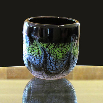 Hand Blown Glass Cup, Black with Blue and Green Decoration  - Glassblowing - Blown Glass - Drinking Glass - Dishware