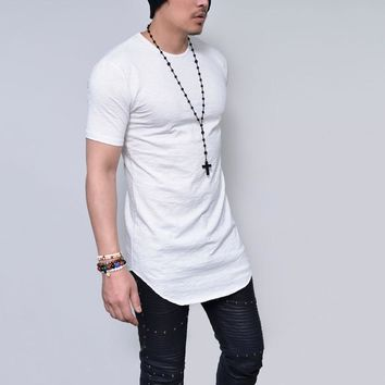 Cool Solid Colors Men Longline Shirts Extra Long Oversized Tall Tees