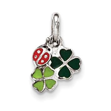 Sterling Silver Enamel Ladybug And Clovers Kid\'s Pendant