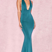 Clothing : Max Dresses : 'Miacova' Teal Silky Jersey Plunge Maxi Dress