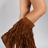 Mid Calf Suede Fringe Boot