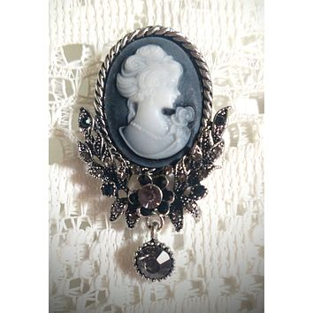 My Fair Lady Cameo Brooch Pendant - Antiqued Silver - Very Limited!