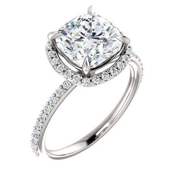 Cushion Moissanite Diamond Accent Ice Halo Ring
