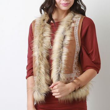 Faux Fur Suede Embroidered Tribal Vest