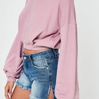 Missguided - Pink Ruched Sleeve Sweatshirt