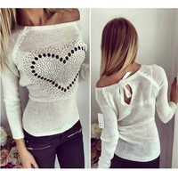 CELMIA Women Knitted Sweater 2017 Fashoin Off Shoulder Sexy Heart Pattern Beading Bowknot Pullover Plus Size Pull Femme Jumper