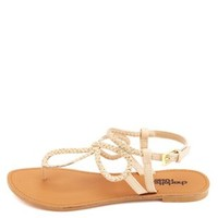 Looped & Braided Metallic Thong Sandals by Charlotte Russe - Nude