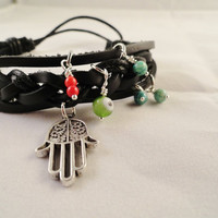 Hamsa Black Leather Cuff Bracelet Evil Eye Charm Adjustable Bracelet