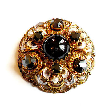Vintage Black Rhinestone Brooch - Damascene Style - West Germany Filigree - Faux Pearl Black Rhinestone - Gold Silver Brass - Broach Pin