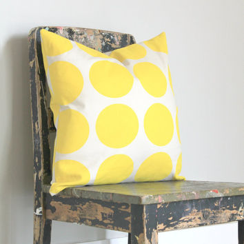 Last One! Large yellow spot pillow cover, yellow and cream cushion cover, yellow decor