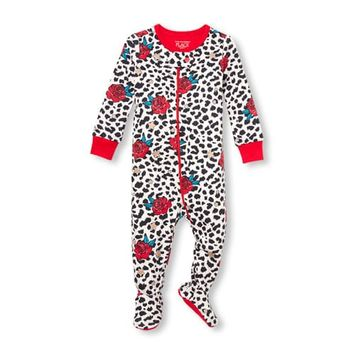 Baby And Toddler Girls Long Sleeve Rose And Leopard Print Glitter Snug-Fit Footed Stretchie