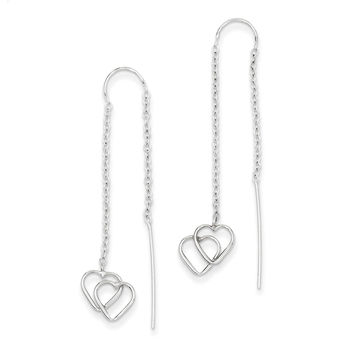 14k White Gold Double Heart Threader Earrings YE1052