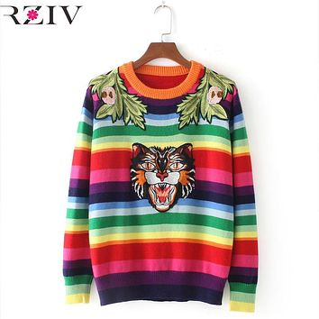 RZIV Fall of 2017 women sweater casual striped cat head embroidered sweater