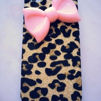 New Chic Elegant Big Pink Bow Gold Leopard Pattern Rhinstones Mobile Cell Phone Case Cover for iPhone 4s 5s 6 Plus Samsung - Casemoda | Pinkoi