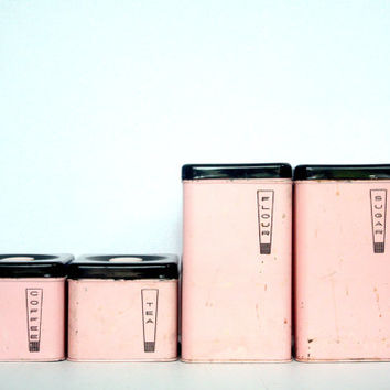 SALE Vintage Lincoln Beautyware Pink Canisters / 4 Piece Set - Retro Kitchen Storage Containers