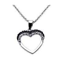 .925 Sterling Silver Open Heart Necklace