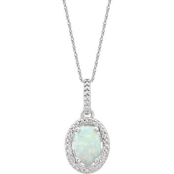 "Sterling Silver Oval Lab-Grown Opal & .01 CTW Diamond Halo-Style 18"" Necklace"