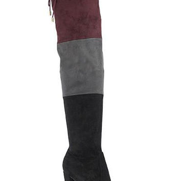 Colorblock Thigh High Boots - Black (Ships On/Before Friday October 7th)