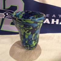Hand Blown Glass Seattle Seahawks Tumbler.  Heavy Glass 12th Man Tumbler. Seahawks Colors Blown Glass Tumbler.