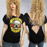 Guns n Roses /GnR / Band Shredded Slashed/Weaved /Cut OOAK Tshirt/Top Size Medium by Rebeltude