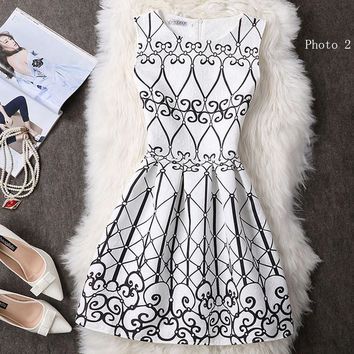 Fashion printed sleeveless dresses show tall waist small pure and fresh short dress-4