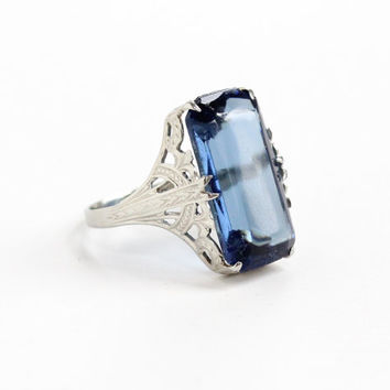 Vintage 10k White Gold Simulated Sapphire Filigree Ring - Antique Size 3 1/2 Art Deco 1920s Blue Glass Stone Fine Jewelry J.K. Co.