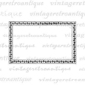Fun Frame Digital Graphic Image Border Antique Download Printable Vintage Clip Art Jpg Png Eps  HQ 300dpi No.650