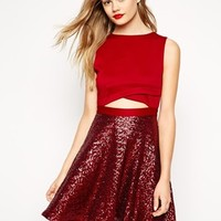 ASOS Scuba Cut Out Top Sequin Skater Dress