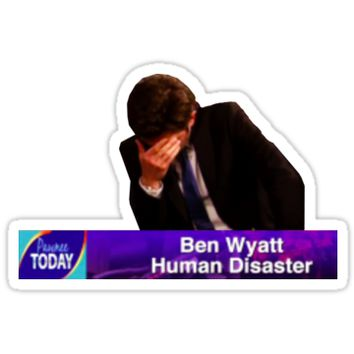 'Ben Wyatt, Human Disaster' Sticker by sophieclaflin