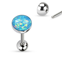 Tongue Ring Opal Sparkle Light Blue 14ga Surgical Steel Body Jewelry