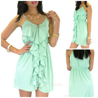 Sea View Mint Zipper Dress