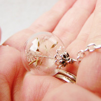 Dandelion Seed Glass Orb Necklace In Silver, Lucky You