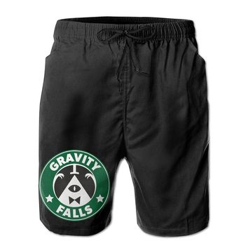 Gravity Falls Bill Cipher Starbucks Mens Fashion Casual Beach Shorts