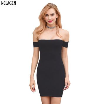 NCLAGEN Women Off Shoulder Long Sleeve Evening Party Dress Spring Summer Bandage Robe Sexy Wrap Sheath Strapless Vestidos Mujer