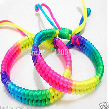 rainbow multi-color Nylon Lucky 2 Handmade Wrist Bracelet Rope