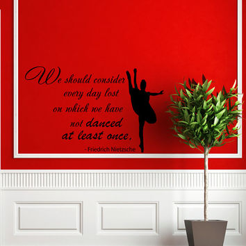 Quote About Dance Life Ballet with Dancer Ballerina Vinyl Decal Home Wall Decor Dance School Studio Stylish Sticker Unique Design Room V508
