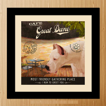 Great Dane Dog Art Poster - Coffee Shop - Kitchen, Dinning Room, Unique Pet Art - D01-026-10X10