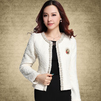 2016 New Blazer for Women Coats Vintage Diamonds Feminino Jackets Formal Lady Suit Office Work Wear Top Cardigans White,Black