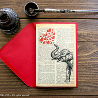 Indian elephant with red hearts Greeting Card - 4x6 in on Ivory Paper - anniversary -Valentine -Love card-design by NATURA PICTA