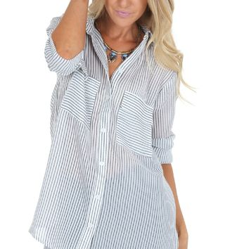 Boyfriend Stripe Button Down