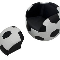Soccer Ball Upholstered Sports Chair with Ottoman