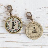 """F""  Junk  Market  Vintage  Initial  Charm  From  Natural  Life"