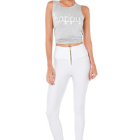 White High Waist Zip Front Leggings